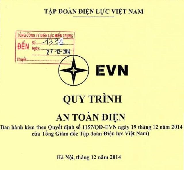 QUY TRÌNH AN TOÀN ĐIỆN - EVN BAN HÀNH THEO QĐ số 1157QD/EVN